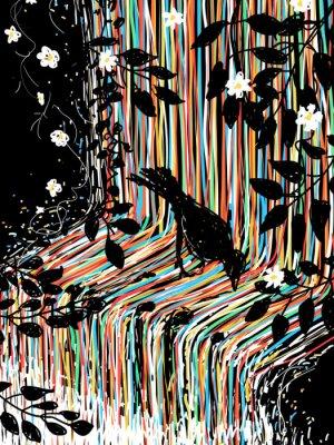 Sticker Vogel-und Wasserfall