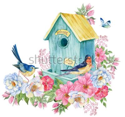 Sticker Vogelhaus, Schwalbe und blauer Vogel, Schmetterling. Frühlingskarte Aquarell Abbildung