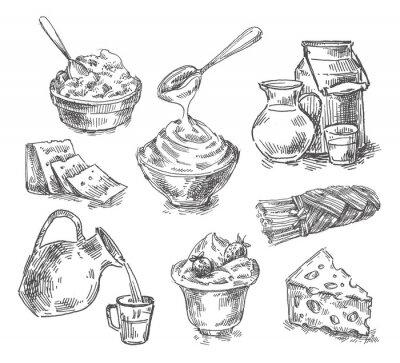 Sticker Von Hand gezogene Milchprodukte, Milch, Käse. skizzieren