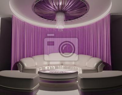 Vorhang an der decke und sofa in luxus-interieur notebook-sticker ...