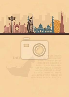 Vorlage mit einer Karte der UAE und Dubai Attraktionen