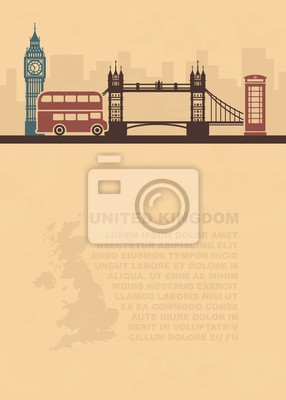 Vorlage mit einer Karte von Großbritannien und Wahrzeichen von London