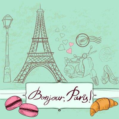 Sticker Vorlage mit Paris Symbole