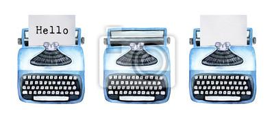 """Vorlage von Vintage Schreibmaschinen. Sammlung von drei: mit typisiertem Wort """"Hallo"""", leer ohne Papier und mit klarem Papierblatt nach innen. Hand gezeichnete Aquarellillustration lokalisiert, weißer"""