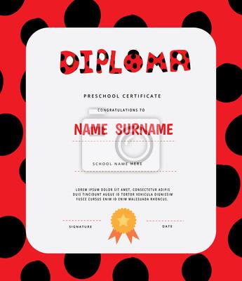 Vorschule grundschule kinder diplom-zertifikat vorlage. volle ...
