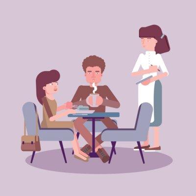 Waitress serving table flat color illustration