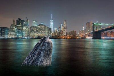 Sticker Wal in Manhattan River in der Nacht