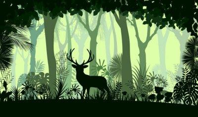 Sticker Waldhintergrund mit wilden Rotwild der Bäume