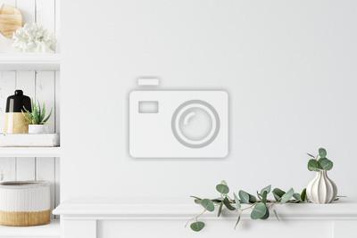Sticker Wall mockup. Coastal Scandinavian interior style. 3d rendering, 3d illustration