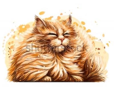 Sticker Wandaufkleber. Die Farbe, die Grafik, das künstlerische Zeichnen einer niedlichen flaumigen Katze schielt hübsch in der Sonne auf einem weißen Hintergrund mit einem Spray des Aquarells.