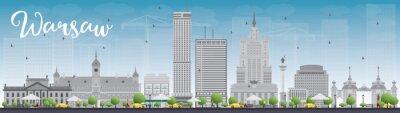 Sticker Warschau Skyline mit grauen Gebäuden und blauem Himmel. Einige Elemente haben Transparenz-Modus anders als normal