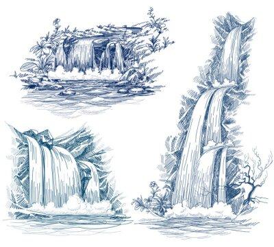 Sticker Wasser fällt Vektor-Zeichenprogramm