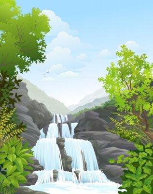 Sticker Wasserfall im tropischen Regen Wald
