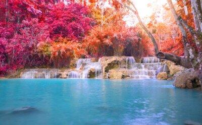 Sticker Wasserfall in regen Wald (Tat Kuang Si Wasserfälle bei Luang Praba