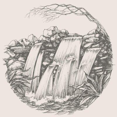 Sticker Wasserfall Rund Zeichnung