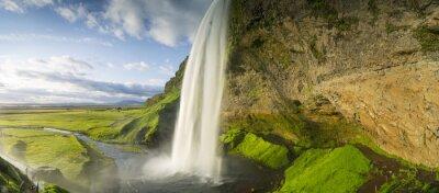 Sticker Wasserfall von Himmel in Island