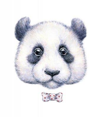 Sticker Wasserfarbe Zeichnung eines Pandas auf weißem Hintergrund