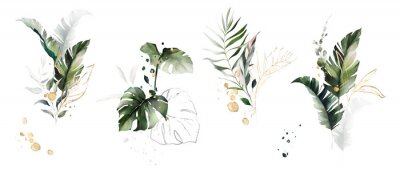 Sticker  watercolor and gold leaves. herbal illustration. Botanic tropic composition.  Exotic modern design