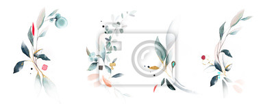 Sticker  watercolor arrangements with leaves, herbs.  herbal illustration. Botanic composition for wedding, greeting card.