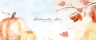 Sticker Watercolor autumn abstract background with pumpkin and seasonal leaves