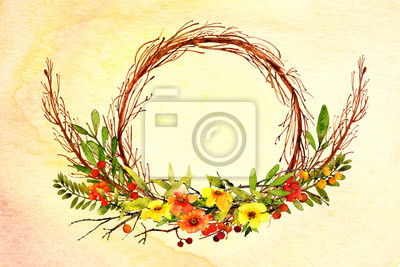 watercolor background textured ombre wash with flower wreath