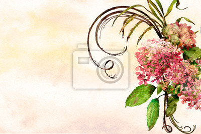 watercolor background textured ombre wash with flowers