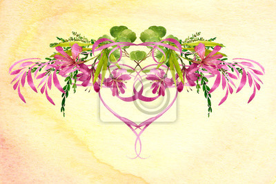 watercolor background textured ombre wash with pink heart flowers