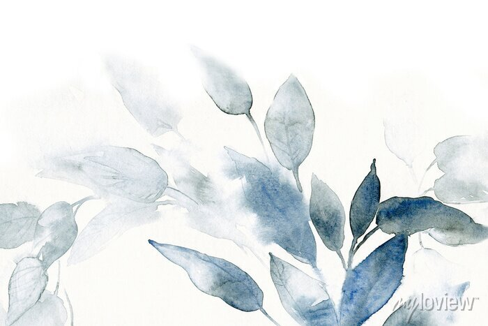 Sticker watercolor background with leaves