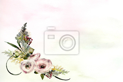 watercolor background with rose arrangement