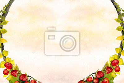 watercolor background with strawberry wreath