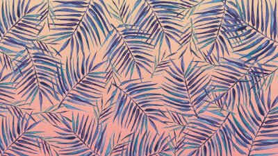 Sticker Watercolor background with tropical leaves on a pink background.