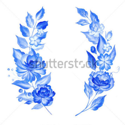 Sticker Watercolor blue flowers  in gzhel style.Floral background.