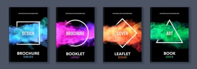 Sticker Watercolor booklet brochure colourful abstract layout cover design template bundle set with black background and geometric frame