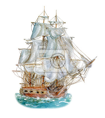 Sticker Watercolor drawing of sailing vessel
