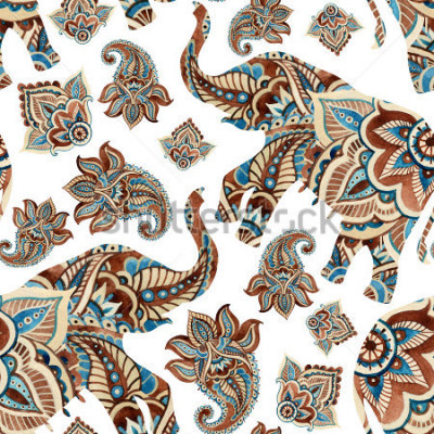Sticker Watercolor ethnic elephant with paisley elements background. Abstract indian seamless pattern with paisley ornament on white background. Hand painted illustration for boho, tribal design