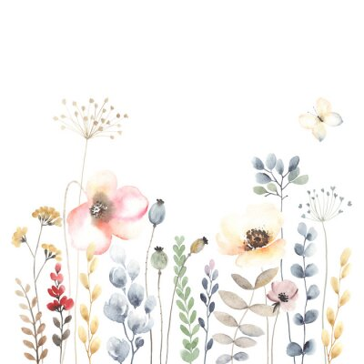 Watercolor floral banner with colorful wildflowers, leaves, plants and flying butterfly. Horizontal isolated illustration. Garden background in vintage style.
