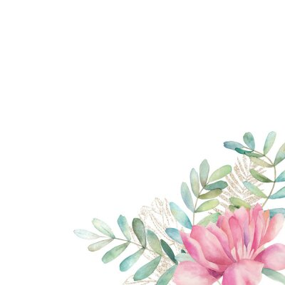 Sticker Watercolor floral card with eucalyptus branch, gold glitter elements and peonies. Hand drawn summer illustration. Wedding border
