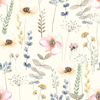Watercolor floral seamless pattern with colorful wildflowers, leaves and plants. Garden illustration in vintage style on ivory background.