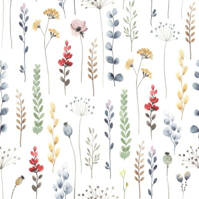 Watercolor floral seamless pattern with colorful wildflowers, leaves and plants. Illustration on white background in vintage style.