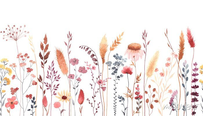 Sticker Watercolor floral seamless pattern with colorful wildflowers, plants and grass. Panoramic horizontal border, isolated illustration. Meadow in vintage style.