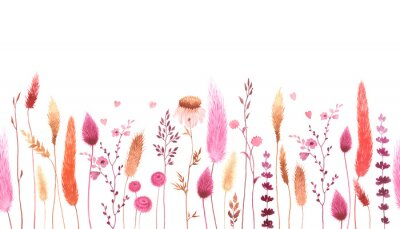 Watercolor floral seamless pattern with colorful wildflowers, plants and hearts. Panoramic horizontal border, romantic illustration. Meadow in vintage style, background for greeting or invitation card