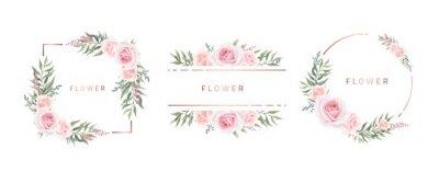 Sticker Watercolor flower frame Rose Eucalyptus. Template wedding invitation card. Rose metallic frame.