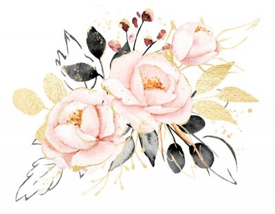 Sticker Watercolor flowers, floral bouquet with gold gray leaves and blush pink peonies. Perfectly for print on greeting card, wedding invitation, poster. Hand drawing. Composition isolated on white.