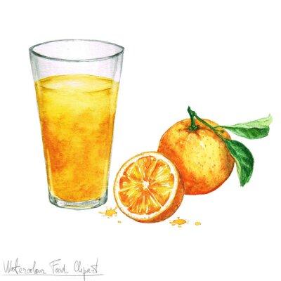 Sticker Watercolor Food Clipart - Orangensaft isoliert auf weiß