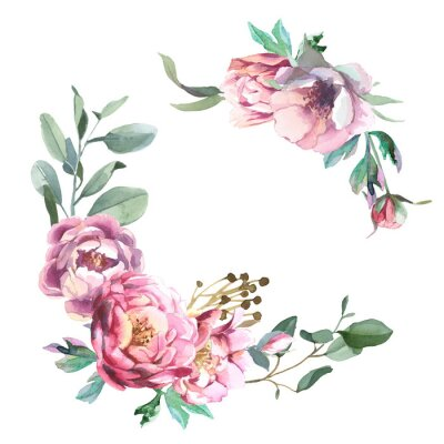 Sticker Watercolor frae of peony and blosom flowers isolate in white background for wedding, invitation, valentine cards and prints