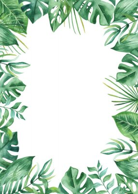 Sticker Watercolor frame with tropical leaves and flowers, watercolor stains. Golden, round, polygonal pattern for cards, invitations, wedding and summer designs.