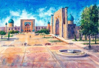 Watercolor hand-drawn landscape of Samarcand city in Uzbekistan