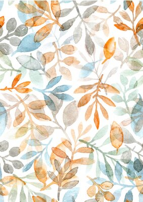 Sticker watercolor hand painted leaves and branches. seamless pattern on a white background