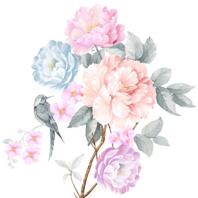 Sticker Watercolor illustration of a bouquet with a purple and delicate pink rose, leaves and bud, greeting card