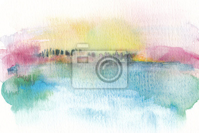 Watercolor landscape background texture blue water with golden fall trees